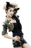 Sexy women in army clothes. Sexy woman in army clothes isolated on white Royalty Free Stock Image