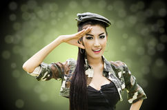 Sexy women in army clothes Stock Photos