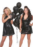 Sexy women black balloons Royalty Free Stock Photo