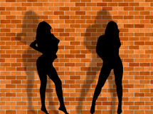 Sexy women and brick background. Two women in a sexy attitude against a brick background Royalty Free Stock Photo