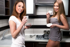 Sexy women with cup of coffee Royalty Free Stock Photo