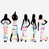 Sexy women dressed in typography dresses Royalty Free Stock Photo