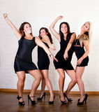Sexy women friends dance on party Royalty Free Stock Image