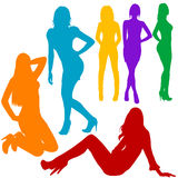 Sexy women hand drawn silhouettes. Sexy women hand drawn colored silhouettes Royalty Free Stock Images