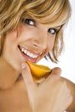 Sexy women holding fresh orange Stock Image