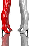 Sexy women in latex high heel boots in red and white Stock Images