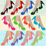 Sexy women legs with high heels multicolored shoes. Vector Illustration Royalty Free Stock Photos