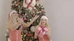 Sexy women in pink clothes are happy with gifts near the Christmas tree. Two female men in Santa caps are throwing up. Sexy women in pink clothes are happy with stock video