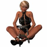Sexy Women Posing With A Stool Stock Images