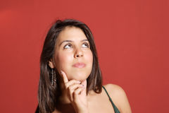 women red background Royalty Free Stock Images