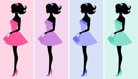Sexy women silhouettes Royalty Free Stock Images