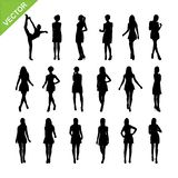 Women silhouettes vector set 17. Set of women silhouettes vector set 17 vector illustration