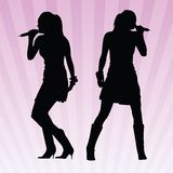 Sexy women singing vector. Two vector images of a sexy girl singing Royalty Free Stock Image