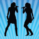 Sexy women singing vector. Two vector images of a sexy girl singing Stock Photo