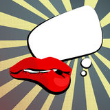 womens shiny red lips comment pop art Royalty Free Stock Photo