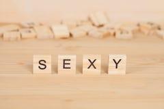 Sexy word written on wood Stock Image