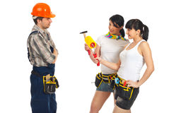 workers women flirting with workman Stock Photo