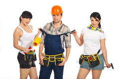 Sexy workers women with workman Stock Photography