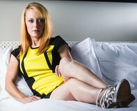 Sexy in yellow (17) Royalty Free Stock Photo