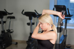 Sexy young athletics girl doing dumbbells press exercises. Fitness muscled woman in black sport clothing workout on bench in gym Royalty Free Stock Photography