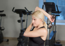 Sexy young athletics girl doing dumbbells press exercises. Fitness muscled woman in black sport clothing workout on bench in gym Stock Image