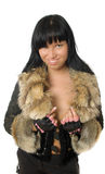 Sexy young babe in fur coat Royalty Free Stock Photos