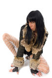 young babe in fur coat Stock Photos