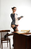 Sexy young beautiful female teacher standing next Stock Photo