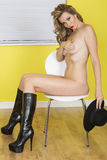 Sexy Young Beautiful Nude Pin Up Model In Black Leather Boots Royalty Free Stock Photos