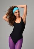 Sexy young beautiful woman posing in black modern bikini underwe Royalty Free Stock Images