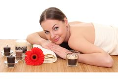 Beautiful woman relaxing in spa. isolated on white stock photo