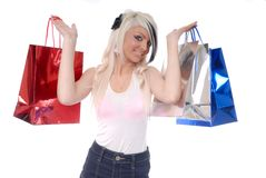 Sexy young blond girl with shopping Stock Photo