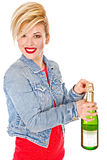Sexy young blond and wine Royalty Free Stock Photos