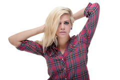 Sexy young blonde female against white Royalty Free Stock Photo
