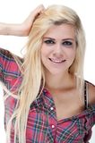 Sexy young blonde female against white Royalty Free Stock Images