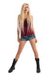 Sexy young blonde female in denim shorts Stock Image