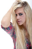 young blonde female isolated against white Stock Photo