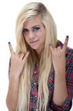 young blonde female rock sign Royalty Free Stock Photo