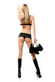 Sexy young blonde with handbag Royalty Free Stock Images