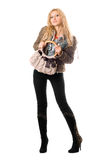 young blonde with a handbag. Isolated Royalty Free Stock Photo
