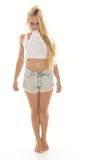 Sexy young blonde woman in white tank top and shorts Stock Photos