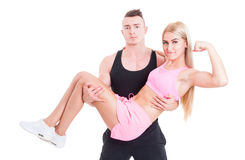 Sexy and young bodybuilding couple Stock Photography