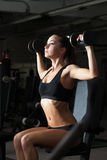 Sexy young brunette exercising with dumbbells Royalty Free Stock Image