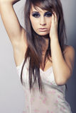 Sexy young brunette girl. Sexy young brunette beautiful fashion girl Royalty Free Stock Photo