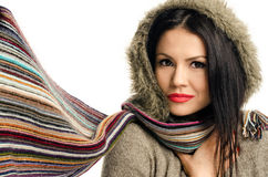 Sexy young brunette girl with scarf. Royalty Free Stock Photography