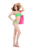young  brunette girl wearing green swimsuit and big hat, ho Royalty Free Stock Photography