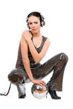 young brunette in headphones Royalty Free Stock Photography