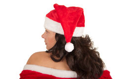 sexy young brunette woman dressed as Santa Royalty Free Stock Photos