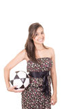 Sexy young brunette woman wearing dress with a Stock Photo