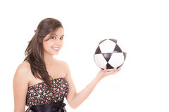 young brunette woman wearing dress with a Royalty Free Stock Images